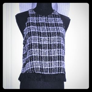 Zara Woman Black & White rogue woven tank